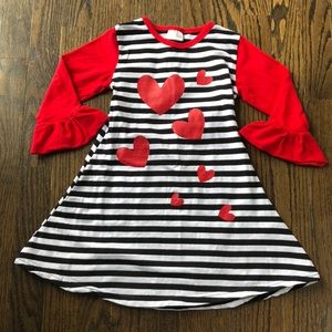 Other - Toddler Girls Striped Heart Valentine's Day Dress